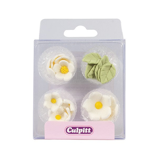 Culpitt Sugar Decorations - White Flowers & Leaves