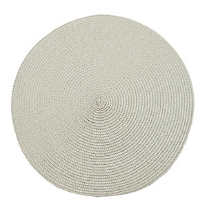 Circular Ribbed Placemat Warm White 35cm dia