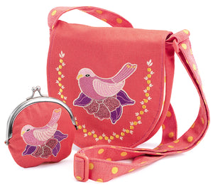 Embroidered Bird Bag and Purse