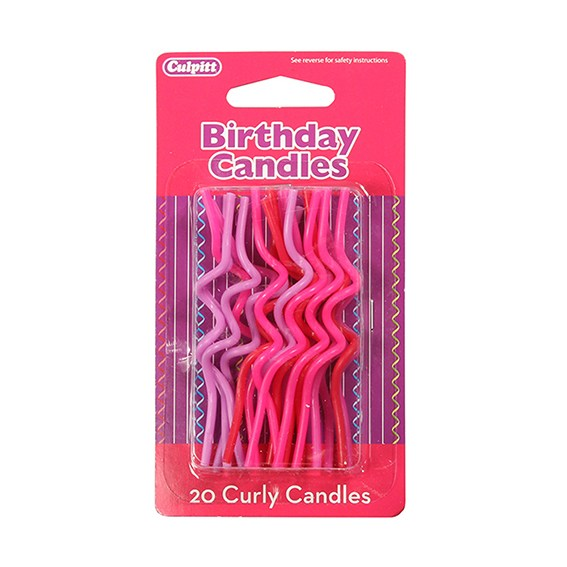Culpitt Curly Birthday Candles - Pinks