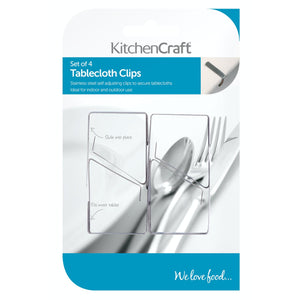 KitchenCraft Stainless Steel Tablecloth Clips - Set of 4