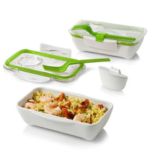 Load image into Gallery viewer, Black & Blum Bento Box - White/Lime