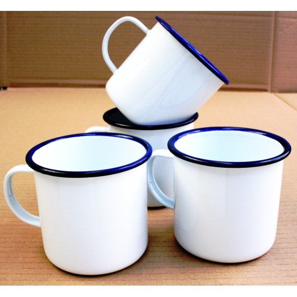Enamel Mug - White with Blue Rim