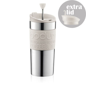 Bodum Travel Press with Extra Lid - White