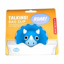 Load image into Gallery viewer, Kikkerland Talking Bag Clip - Triceratops