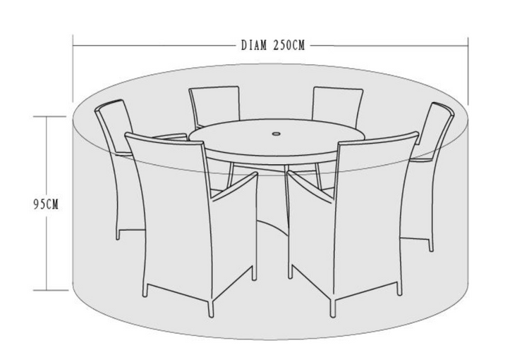 250cm Cover for 4-6 seater dining sets