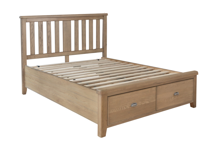 Hatton Wooden Bed with Headboard and Drawer Footboard Set