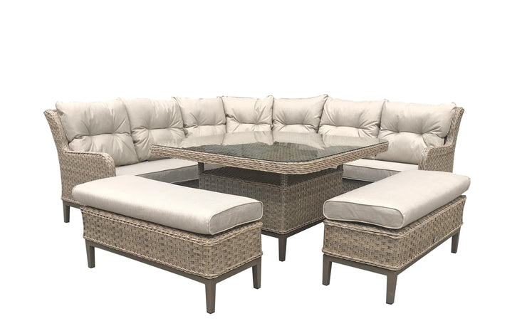 Diana Corner Garden Dining Sofa with Ottoman Seats