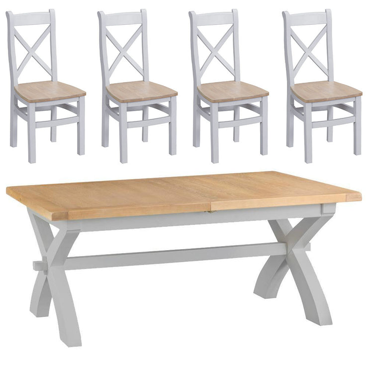 Hampstead Grey Cross Extending Table and 4 Chairs