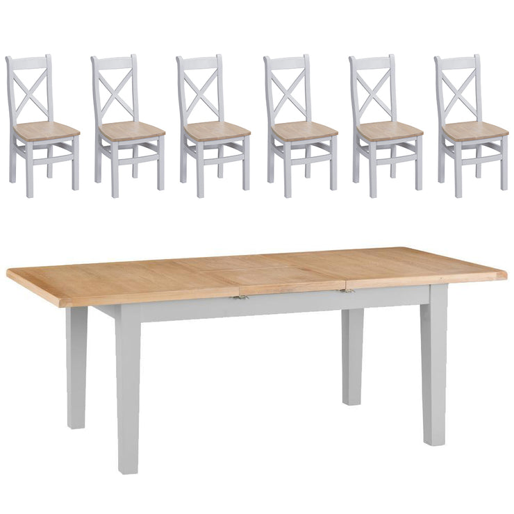 Hampstead Grey Extending Butterfly Table and 6 Chairs
