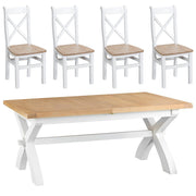 Hampstead White Cross Extending Table and 4 Chairs
