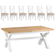 Hampstead White Cross Extending Table and 6 Chairs