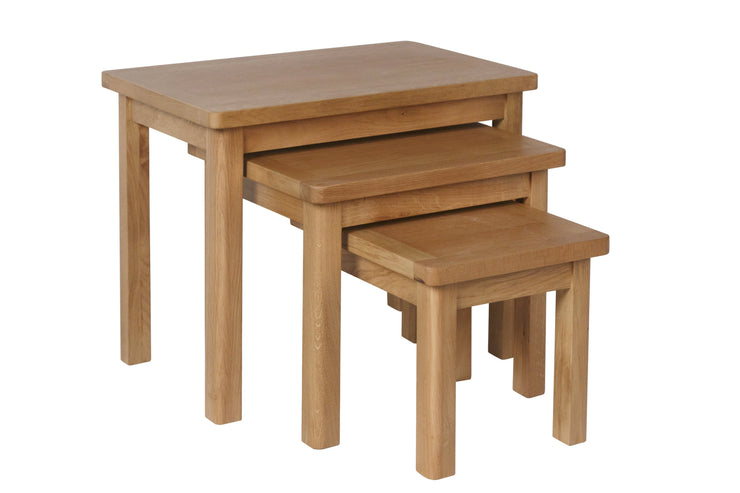 Hampton Oak Nest of 3 Tables