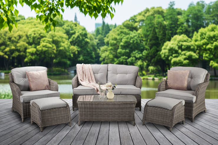 Harriet Four Seat Sofa Set with Footstools in Fine Grey wicker in Pale Grey Cushions