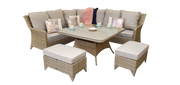 Zara Corner Dining Set in Natural with Beige Cushions