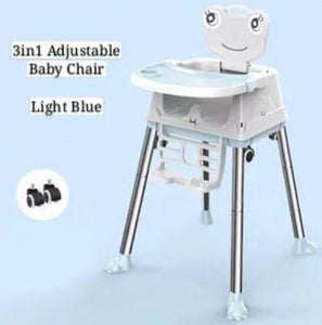 3in1 Adjustable Baby Chair Variable Height Options, With Wheels & Seat Cushions Free Tray