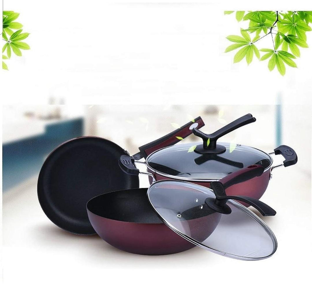 3pcs Frying Pan Non Stick Cooking Pans Set Gas or Induction Friendly Cookware With Lid