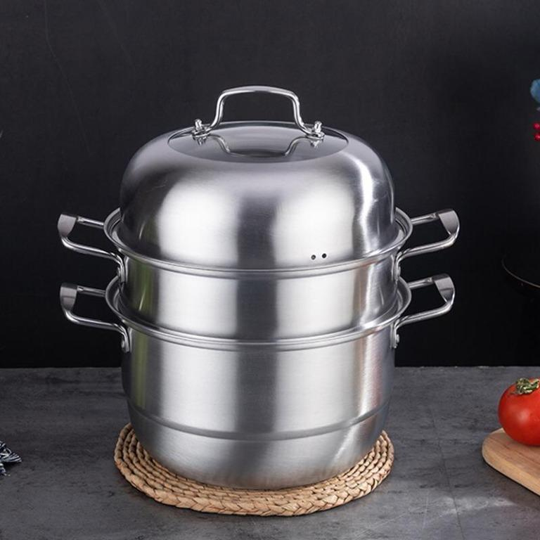 Korean Style 30CM Stainless Steel 3 Layers Steamer Multi-Function Cooking Pot