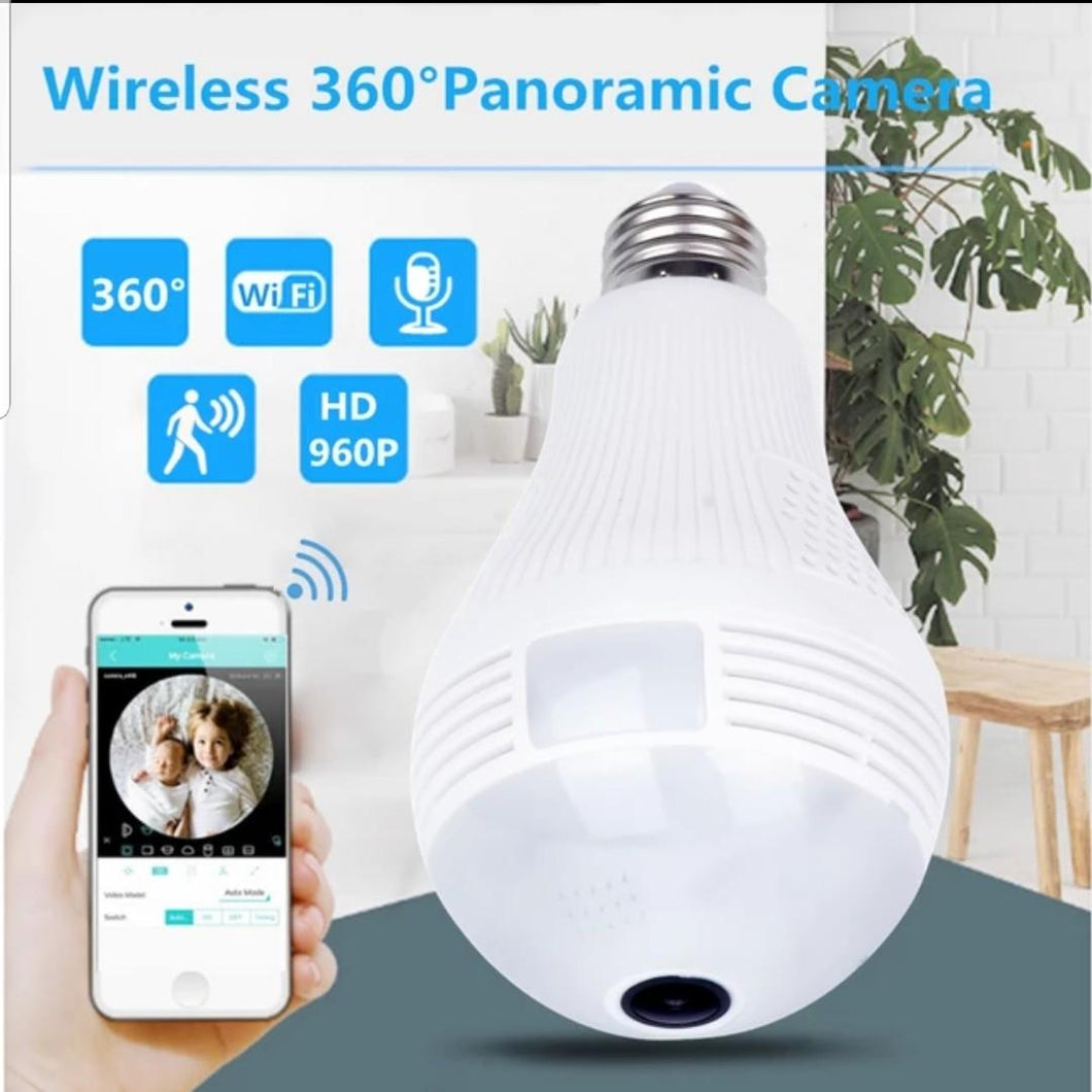 Panoramic IP Camera Wireless Security WiFi CCTV Fisheye Bulb Lamp LED Light [New Model]