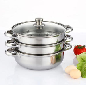 Steamer Pot 3 Tier Stainless Steel 28cm Steam Cooking Pots Gas Induction Stove