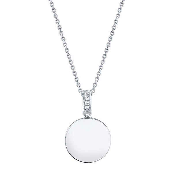 Diamond Disc Circle Pendant Necklace - 14K White Gold