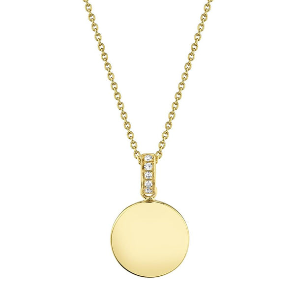 Diamond Disc Circle Pendant Necklace - 14K Yellow Gold
