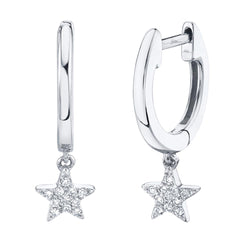 0.04CT DIAMOND STAR HUGGIE EARRING