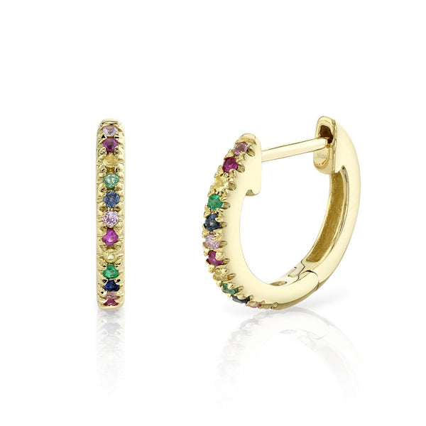 0.08CT MULTI-COLOR STONE HUGGIE EARRING