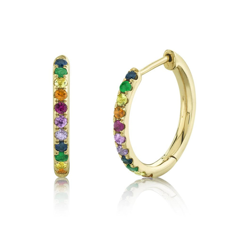 0.32CT MULTI-COLOR STONE HOOP EARRING