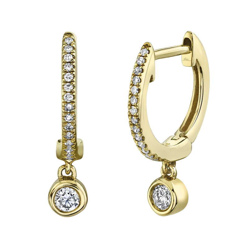 0.14 Ct. Bezel Charm Diamond Huggie Earrings
