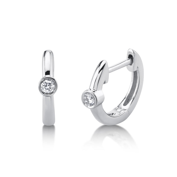 0.06CT DIAMOND BEZEL HUGGIE EARRING