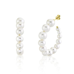 Coco Fresh Water Pearl Hoop Earrings - 14K Yellow Gold