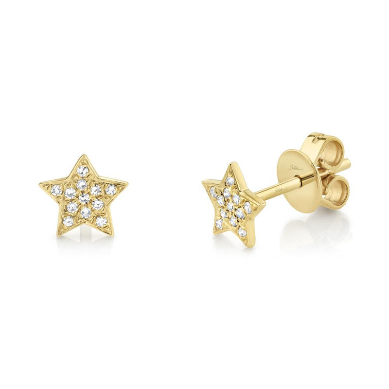 Shy Creation 0.07 Ct. Diamond Pave Star Stud Earring - Yellow Gold