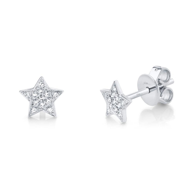 Shy Creation 0.07 Ct. Diamond Pave Star Stud Earring - White Gold
