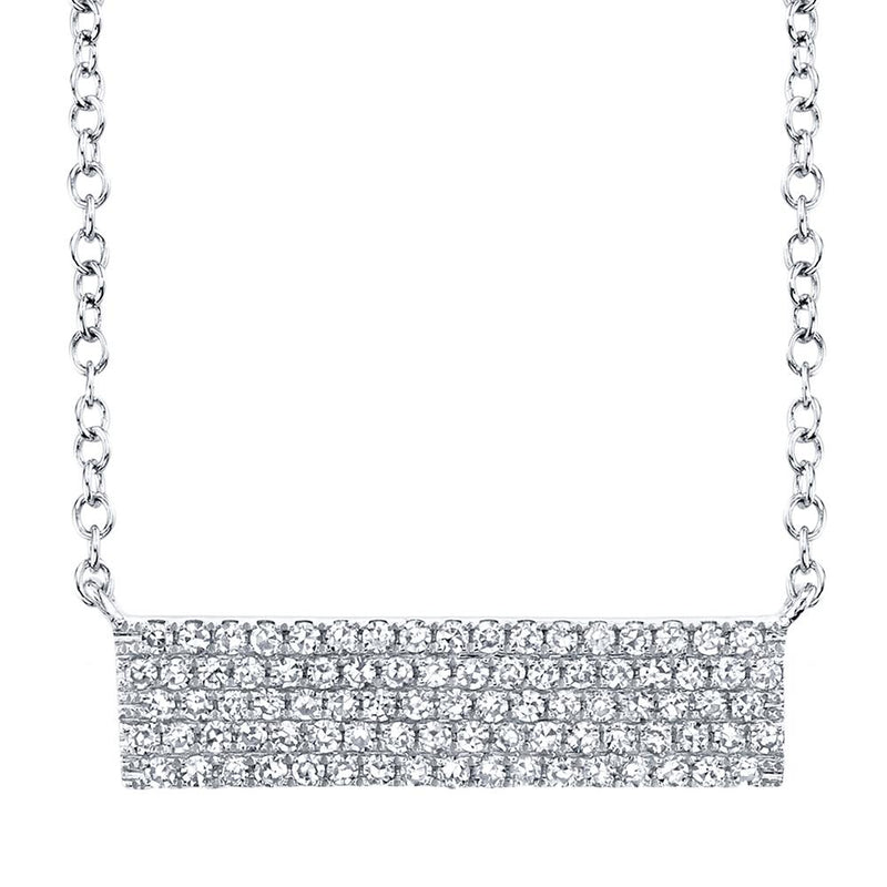 Shy Creation 0.25CT DIAMOND PAVE BAR PENDANT NECKLACE - 14K White Gold