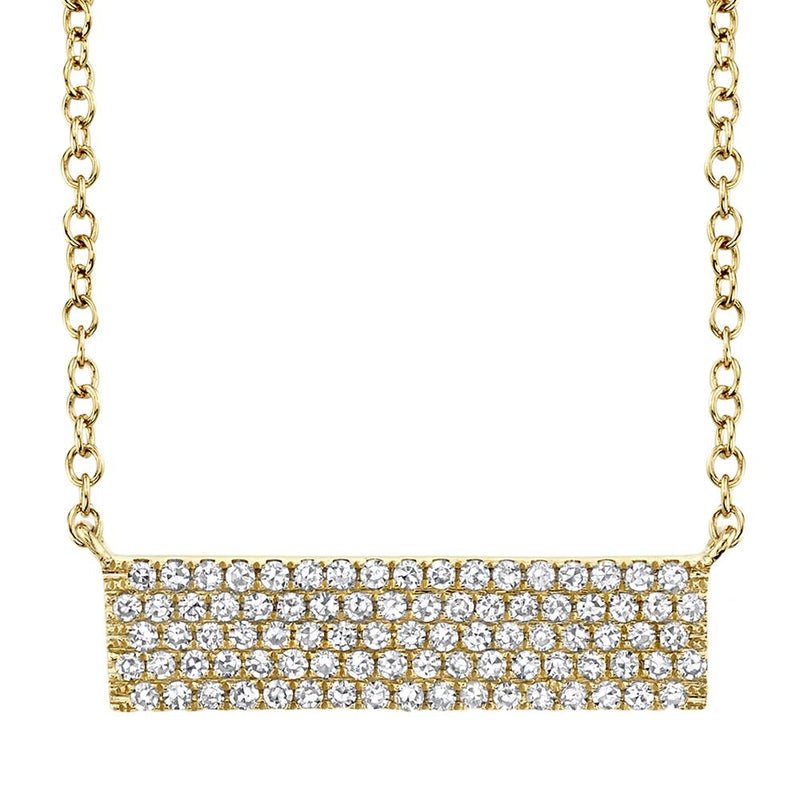 0.25CT DIAMOND PAVE BAR PENDANT NECKLACE - 14K Yellow Gold