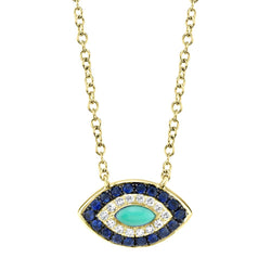 0.05CT DIAMOND & 0.20CT BLUE SAPPHIRE & COMPOSITE TURQUOISE NECKLACE