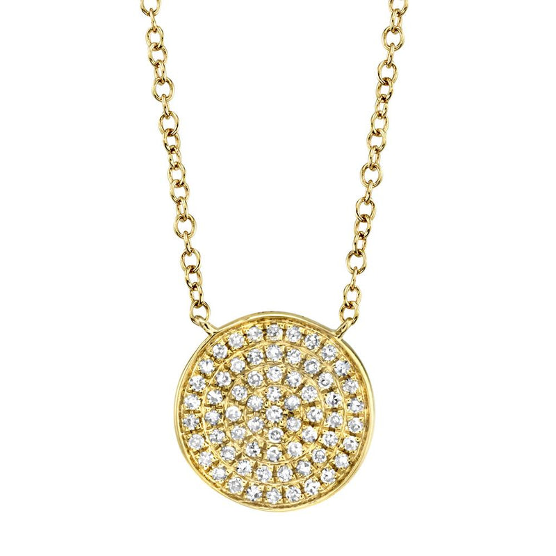 Emmie 0.15 Ct. Diamond Pave Disc Circle Pendant Necklace