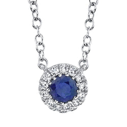 0.04CT DIAMOND & 0.14CT BLUE SAPPHIRE NECKLACE