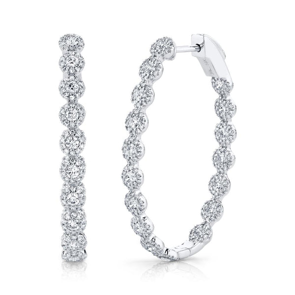 2.05CT DIAMOND OVAL HOOP EARRING