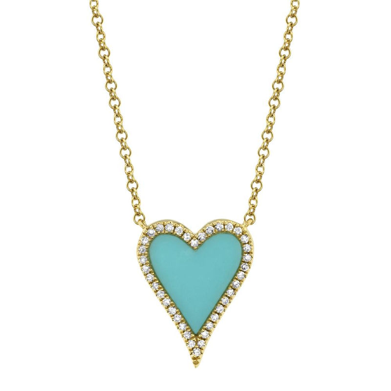 0.09CT DIAMOND & 0.69CT COMPOSITE TURQUOISE HEART NECKLACE