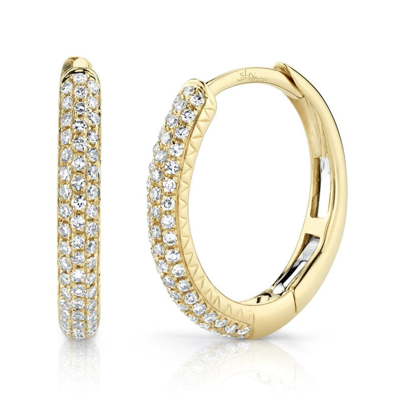 0.21CT DIAMOND PAVE HOOP EARRING