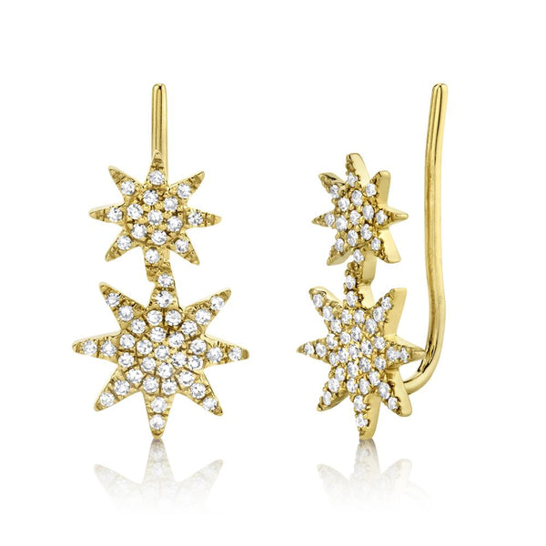 0.22CT DIAMOND PAVE STAR EAR CRAWLER EARRING