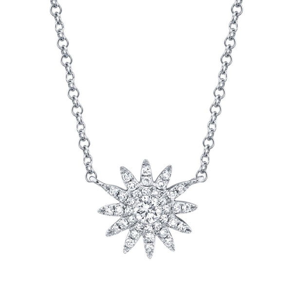 'Aurora' 0.15Ct Diamond Starburst Pendant Necklace - 14K White Gold