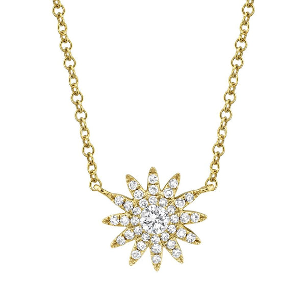 'Aurora' 0.15Ct Diamond Starburst Pendant Necklace - 14K Yellow Gold