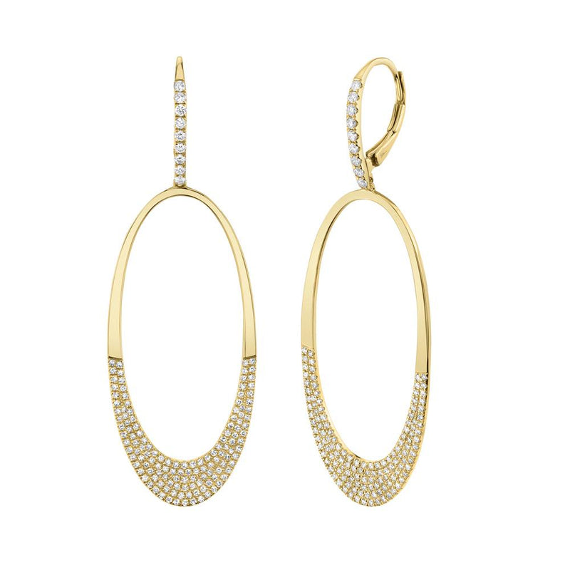 Studio 54 0.85 Ct. Diamond Pave Oval Drop Earrings - Yellow Gold
