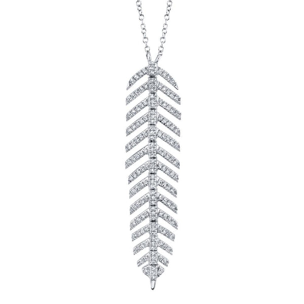 0.29CT DIAMOND 'Phoenix' FEATHER Pendant NECKLACE