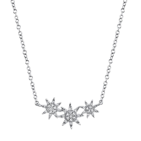 'Celeste' 0.09CT Triple Diamond STAR Pendant NECKLACE - 14K White Gold