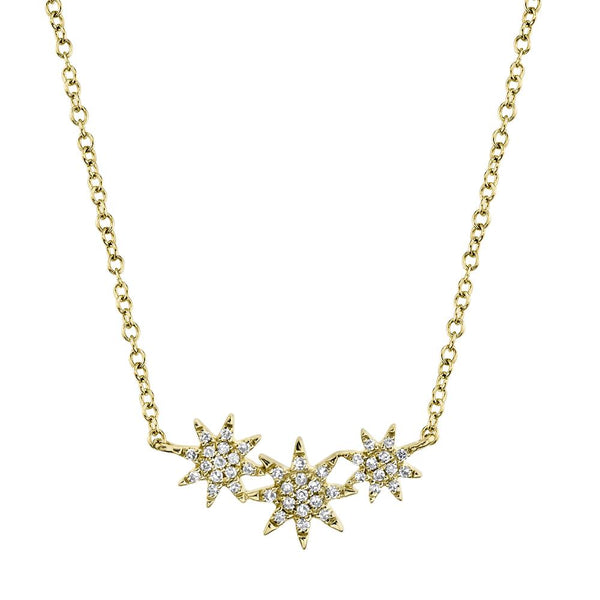'Celeste' 0.09CT Triple Diamond STAR Pendant NECKLACE - 14K Yellow Gold