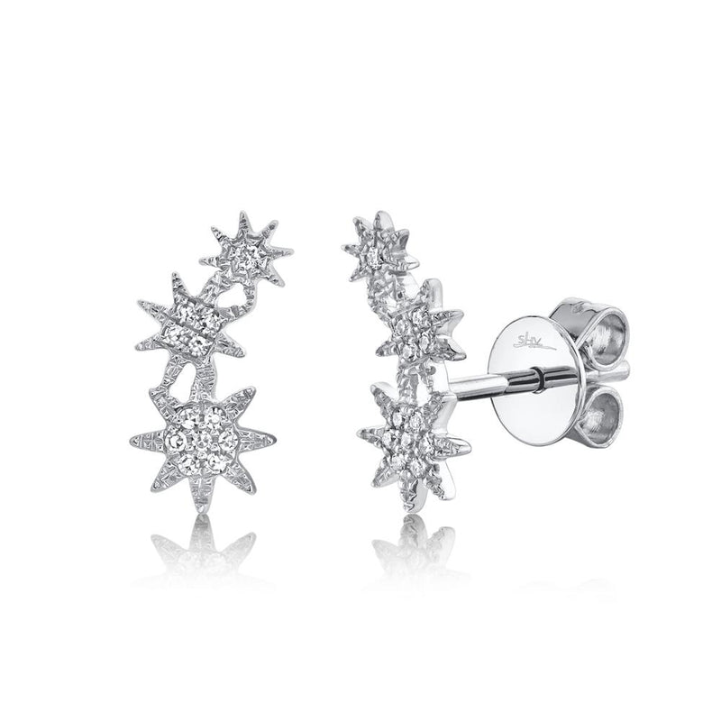 'Celeste' 0.06CT Diamond Star Crawler Stud Earring